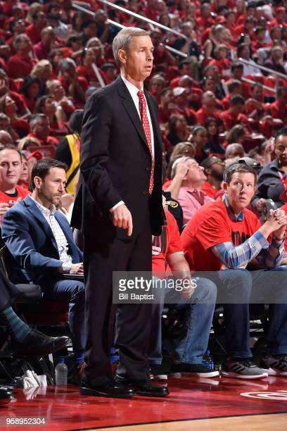 Assistant Coach Jeff Bzdelik of the Houston Rockets looks on during the game against the Utah Jazz in Game One of the Western Conference Semifinals...