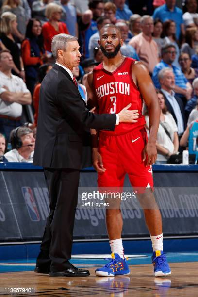 Assistant Coach Jeff Bzdelik of the of the Houston Rockets speaks to Chris Paul of the Houston Rockets during the game on April 9 2019 at Chesapeake...