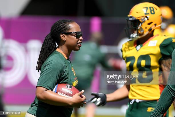 Assistant coach Jennifer King of the Arizona Hotshots during warmups prior to the Alliance of American Football game against the San Diego Fleet at...