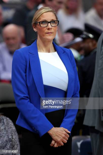 Assistant coach Jenny Boucek of the Dallas Mavericks looks on as the Dallas Mavericks prepare to take on the Denver Nuggets at American Airlines...