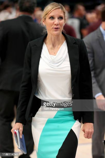Assistant coach Jenny Boucek of the Dallas Mavericks walks off the court after the Mavericks beat the Orlando Magic 107106 at American Airlines...
