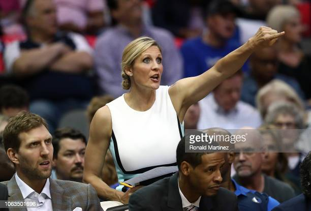 Assistant coach Jenny Boucek of the Dallas Mavericks yells during play against the Utah Jazz at American Airlines Center on October 28 2018 in Dallas...