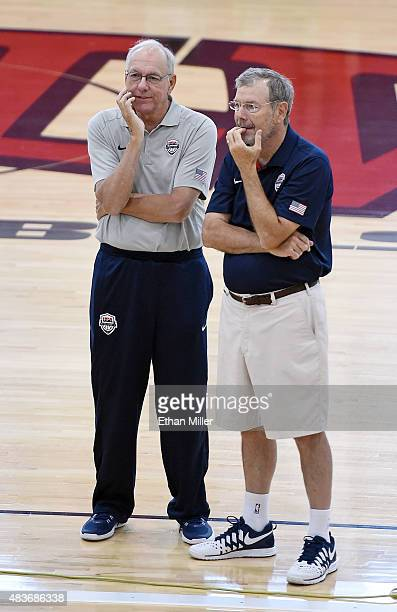 Assistant coach Jim Boeheim and PJ Carlesimo of the 2015 USA Basketball Men's National Team talk during a practice session at the Mendenhall Center...