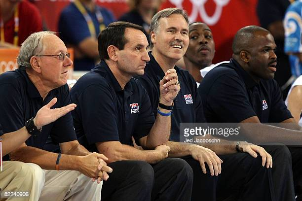 Assistant coach Jim Boeheim head coach Mike Krzyzewski assistant coach Mike D'Antoni and assistant coach Nate McMillan of the United States look on...