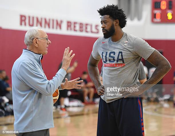 Assistant coach Jim Boeheim of the 2016 USA Basketball Men's National Team works on free throws with DeAndre Jordan of the 2016 USA Basketball Men's...