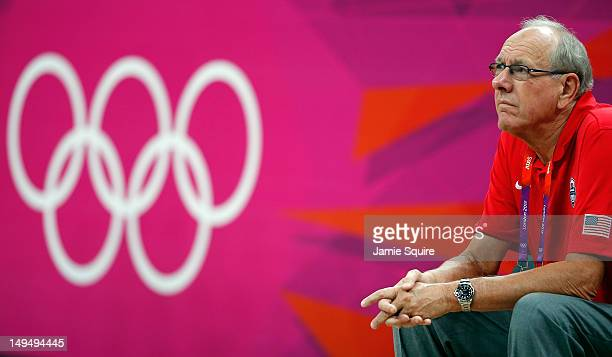 Assistant coach Jim Boeheim of the United States watches against France in the Men's Basketball Game on Day 2 of the London 2012 Olympic Games at the...