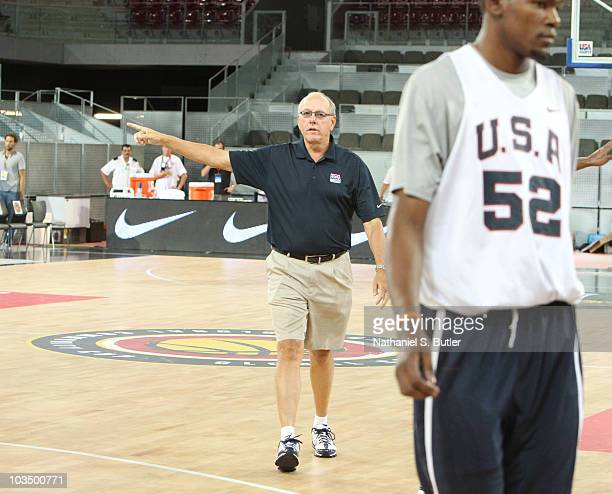 Assistant Coach Jim Boeheim of the USA Senior Men's National Team instructs the players during practice on August 20 2010 at La Caja Magica in Madrid...