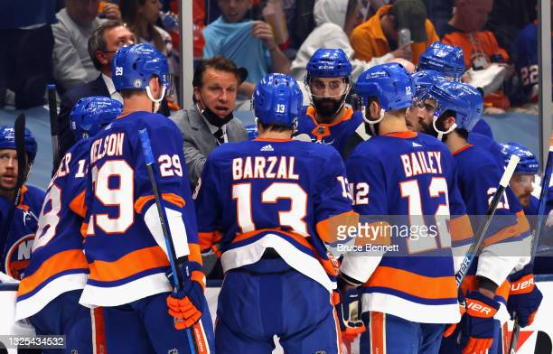 Assistant coach Jim Hiller of the New York Islanders works the bench during the game against the Tampa Bay Lightning in Game Six of the NHL Stanley...