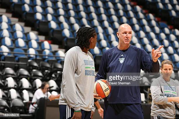 Assistant Coach Jim Petersen of the Minnesota Lynx gives instructions to Amber Harris during shoot around prior to The 2013 WNBA Finals Game 1...