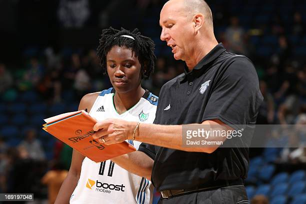 Assistant Coach Jim Peterson directs Amber Harris of the Minnesota Lynx during the WNBA preseason game against the Connecticut Sun on May 21 2013 at...