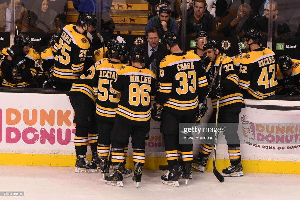 Assistant Coach Joe Sacco of the Boston Bruins talks to his team during the third period against the Tampa Bay Lightning at the TD Garden on November 29, 2017 in Boston, Massachusetts.