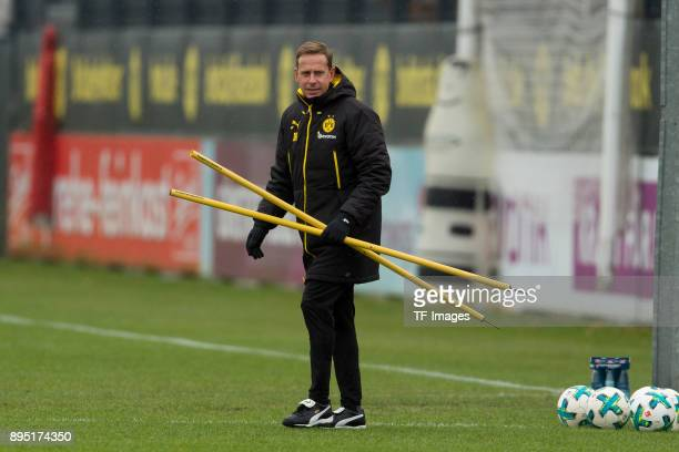 Assistant coach Joerg Heinrich of Dortmund looks on during a training session at BVB trainings center on December 13 2017 in Dortmund