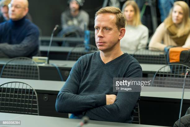 Assistant coach Joerg Heinrich of Dortmund looks on looks on during the press conference at Signal Iduna Park on December 10 2017 in Dortmund Germany