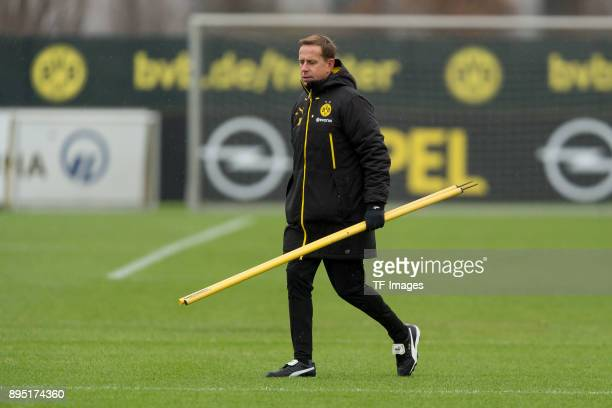 Assistant coach Joerg Heinrich of Dortmund walks during a training session at BVB trainings center on December 13 2017 in Dortmund