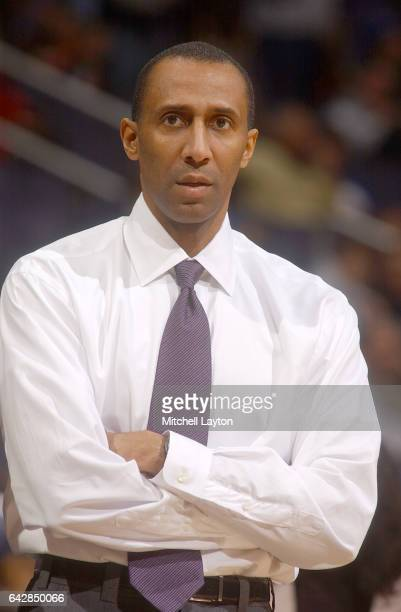 Assistant coach Johnny Dawkins of the Duke Blue Devils during a college basketball game against the Georgetown Hoyas at the MCI Center on January 24...