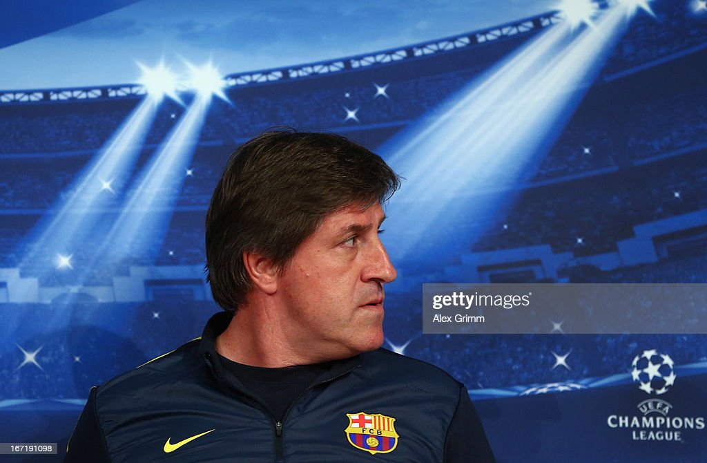 Assistant coach Jordi Roura attend a FC Barcelona press conference ahead of their UEFA Champions League Semi Final first leg match against FC Bayern Muenchen on April 22, 2013 in Munich, Germany.