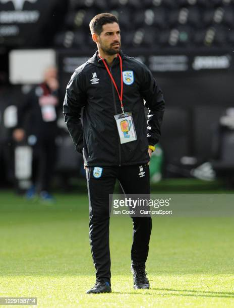 Assistant Coach Jorge Alarcón during the prematch warmup during the Sky Bet Championship match between Swansea City and Huddersfield Town at Liberty...