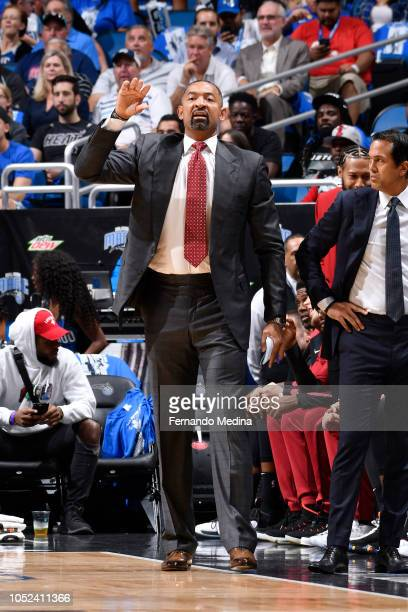 Assistant Coach Juwan Howard looks on during the game against the Orlando Magic on October 17 2018 at Amway Center in Orlando Florida NOTE TO USER...