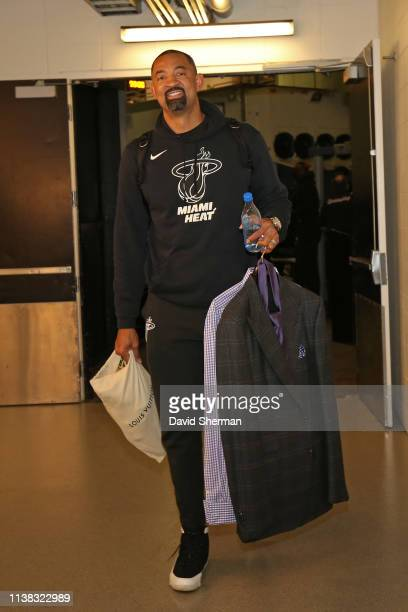 Assistant Coach Juwan Howard of the Miami Heat arrives to the game against the Minnesota Timberwolves on April 5 2019 at Target Center in Minneapolis...