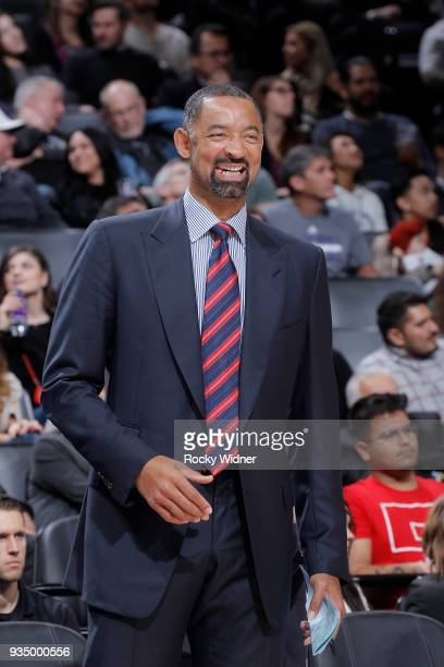 Assistant coach Juwan Howard of the Miami Heat coaches against the Sacramento Kings on March 14 2018 at Golden 1 Center in Sacramento California NOTE...