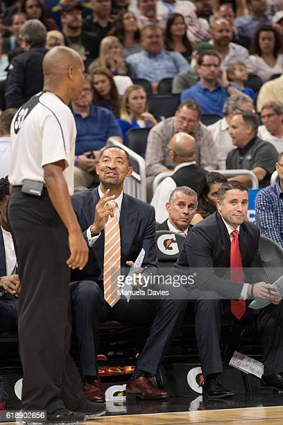 Assistant coach Juwan Howard of the Miami Heat exchanges words with referee on opening night agains the Orlando Magic on October 26 2016 at Amway...