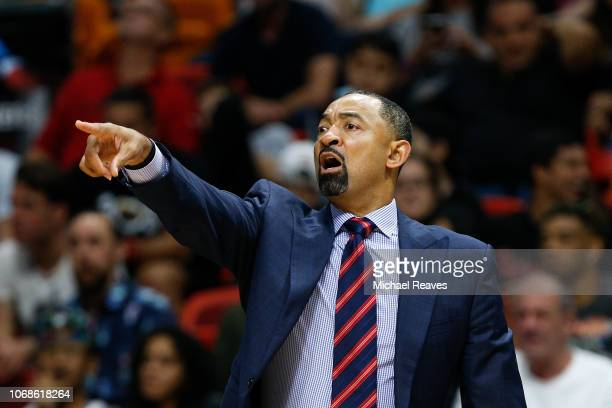 Assistant coach Juwan Howard of the Miami Heat in action against the Philadelphia 76ers during the second half at American Airlines Arena on November...