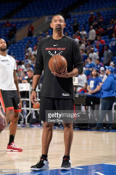 Assistant Coach Juwan Howard of the Miami Heat look on before the game against the Philadelphia 76ers in game one of round one of the 2018 NBA...