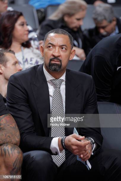 Assistant coach juwan Howard of the Miami Heat looks on during the game against the Sacramento Kings on February 8 2019 at Golden 1 Center in...