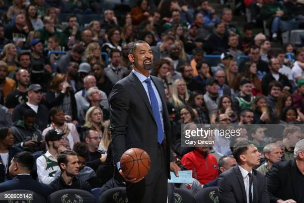 Assistant Coach Juwan Howard of the Miami Heat looks on during the game against the Milwaukee Bucks on January 17 2018 at the BMO Harris Bradley...