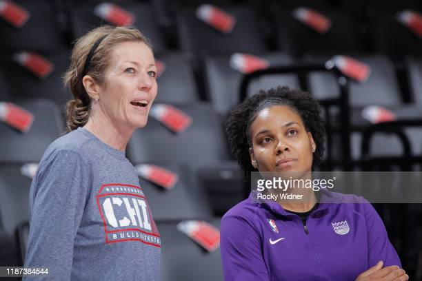 Assistant coach Karen STtackUmlauf of the Chicago Bulls and assistant coach Lindsey Harding of the Sacramento Kings talk on December 2 2019 at Golden...