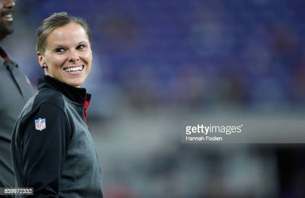 Assistant coach Katie Sowers of the San Francisco 49ers looks on before the preseason game against the Minnesota Vikings on August 27 2017 at US Bank...