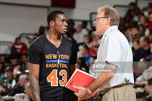 Assistant coach Kurt Rambis speaks with Thanasis Antetokounmpoof of the New York Knicks against the Dallas Mavericks at the Samsung NBA Summer League...