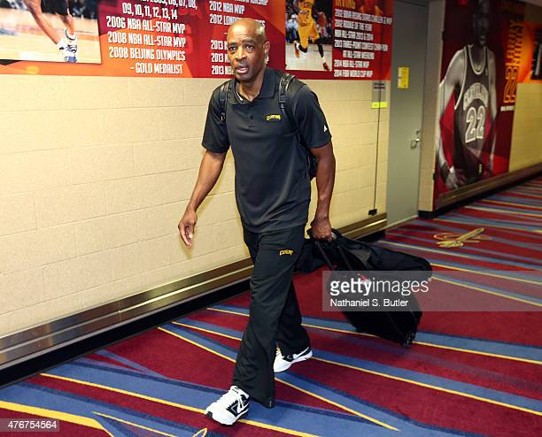 Assistant Coach Larry Drew of the Cleveland Cavaliers arrives prior to Game Four of the 2015 NBA Finals at The Quicken Loans Arena on June 11 2015 in...