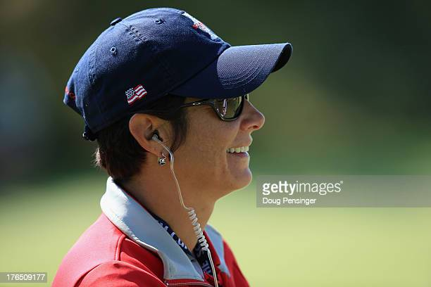 Assistant coach Laura Diaz of the USA watches the ladies practice as they prepare for the 2013 Solheim Cup on August 14 2013 at the Colorado Golf...