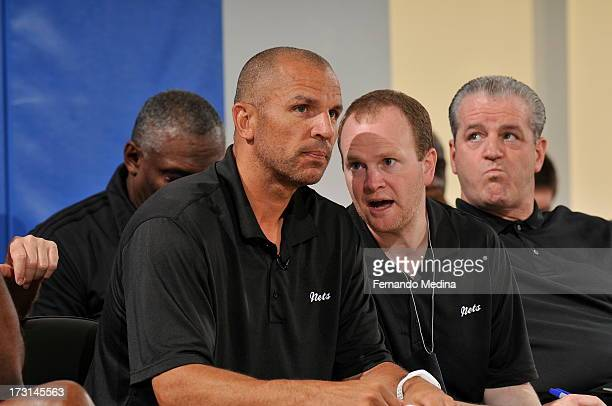 Assistant coach Lawrence Frank confers with Head coach Jason Kidd of the Brooklyn Nets during the 2013 Southwest Airlines Orlando Pro Summer League...