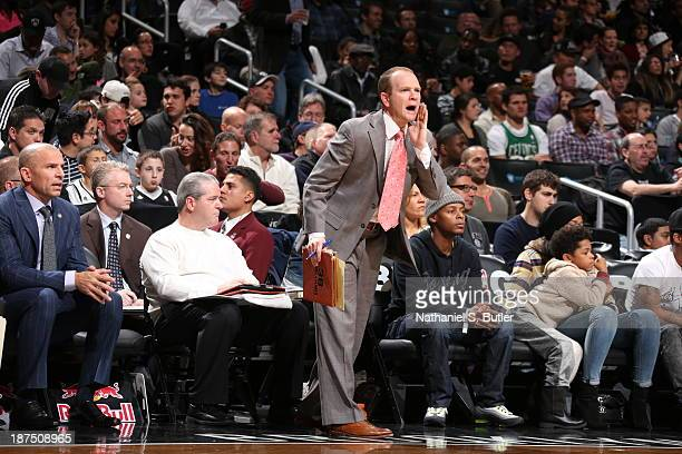 Assistant Coach Lawrence Frank of the Brooklyn Nets calls to his team during a game against the Indiana Pacers at Barclays Center on November 9 2013...