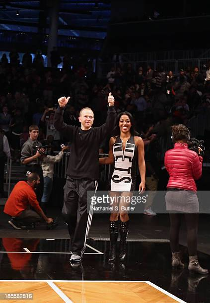 Assistant Coach Lawrence Frank of the Brooklyn Nets during an Open Practice at the Barclays Center on October 20 2013 in the Brooklyn borough of New...