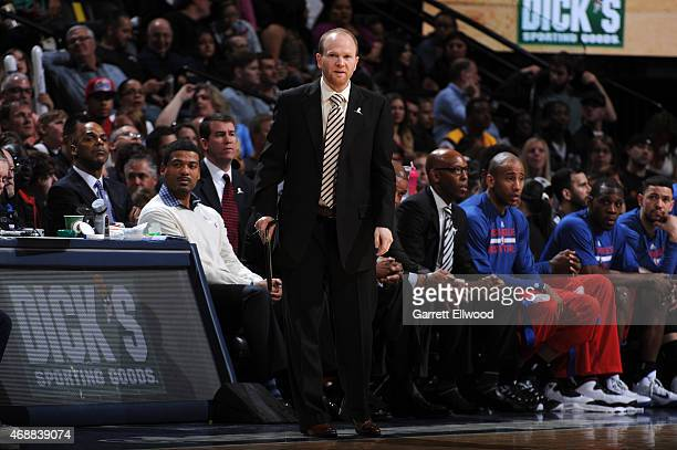 Assistant coach Lawrence Frank of the Los Angeles Clippers stands on the court during a game against the Denver Nuggets on April 4 2015 at the Pepsi...