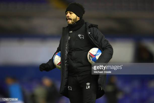 Assistant coach Liam Rosenior of Derby County during the warm up ahead of the Sky Bet Championship match between Birmingham City and Derby County at...