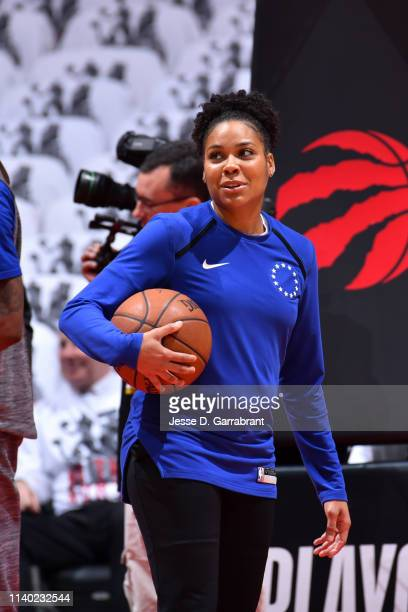 Assistant Coach Lindsey Harding of the Philadelphia 76ers looks on prior to a game against the Toronto Raptors before Game Two of the Eastern...
