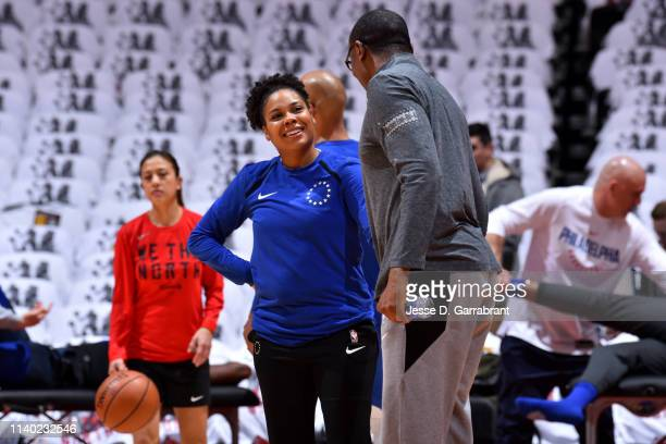 Assistant Coach Lindsey Harding of the Philadelphia 76ers smile prior to a game against the Toronto Raptors before Game Two of the Eastern Conference...