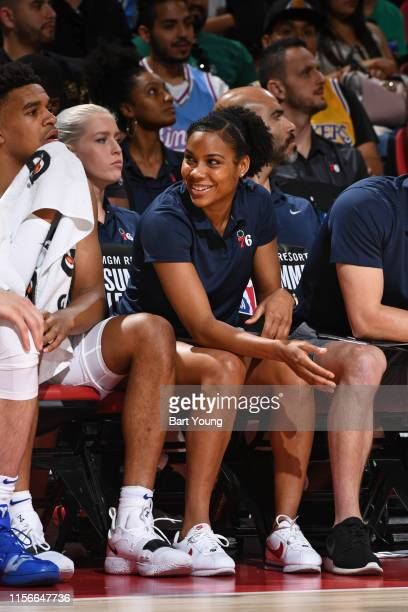 Assistant Coach Lindsey Harding of the Philadelphia 76ers smiles during the game against the Boston Celtics during Day 2 of the 2019 Las Vegas Summer...