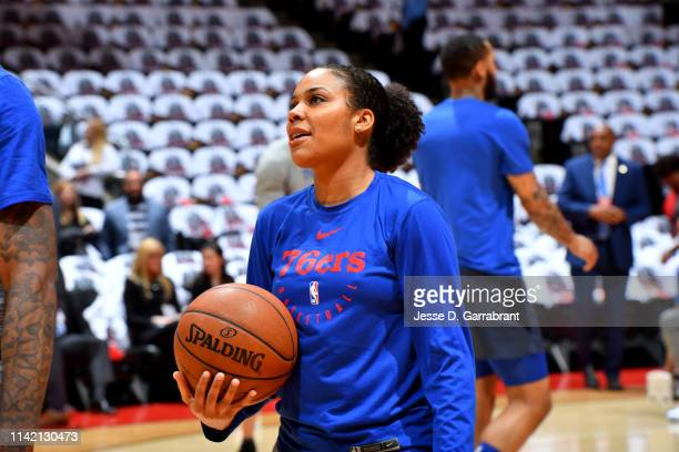 Assistant Coach Lindsey Harding of the Philadelphia 76ers works out with players prior to a game against the Toronto Raptors before Game Five of the...