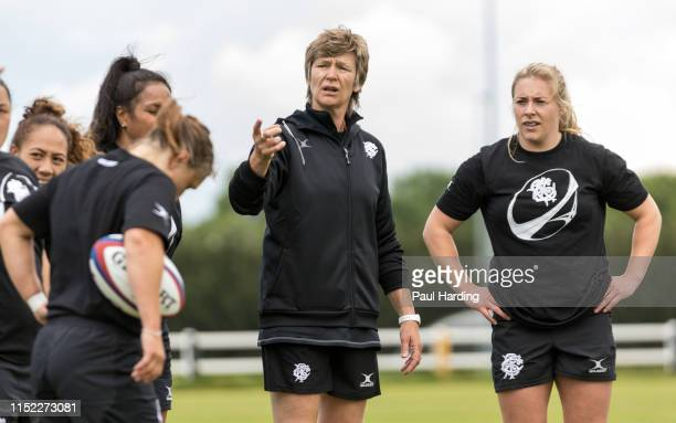 Assistant Coach Liza Burgess and Heather Kerr during Barbarians Women Training at Twyford Avenue Sports Ground on May 28 2019 in Acton England