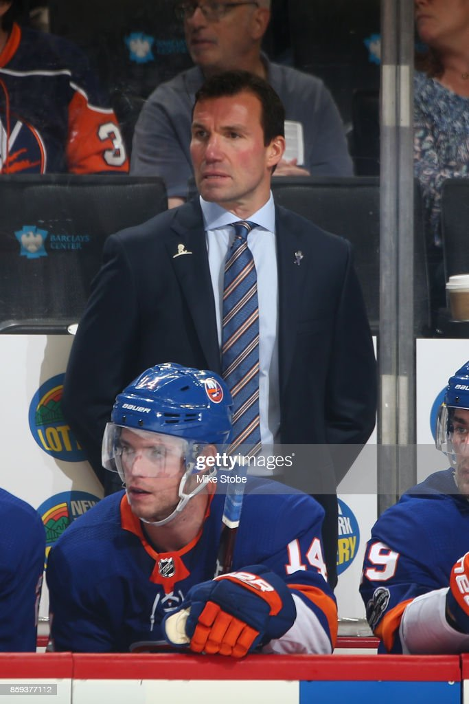 Assistant coach Luke Richardson looks on from the bench during the game against the Buffalo Sabres at Barclays Center on October 7, 2017 in New York City.