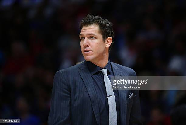 Assistant coach Luke Walton of the Golden State Warriors looks on during the NBA game between the Golden State Warriors and the Los Angeles Clippers...