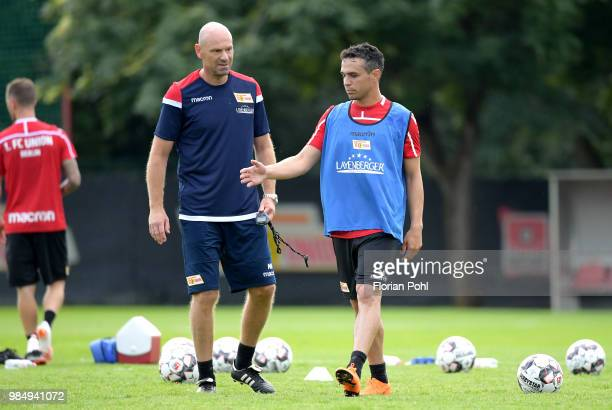 assistant coach Markus Hoffmann and Manuel Schmiedebach of 1 FC Union Berlin during the first training of season 2018/2019 at Trainingsgelaende of...