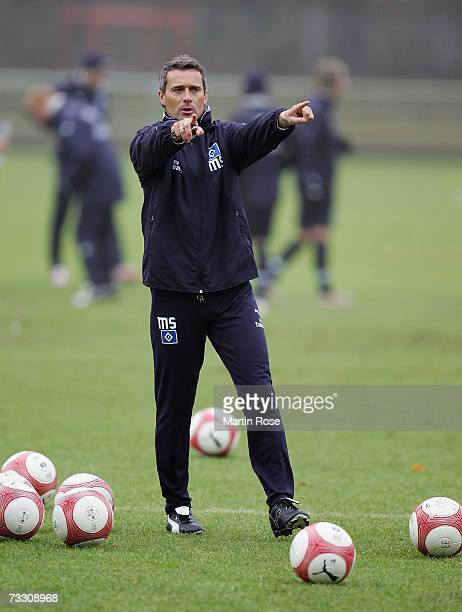 Assistant coach Markus Schupp gives instructions during the Hamburger SV training session on February 13, 2007 in Hamburg, Germany.