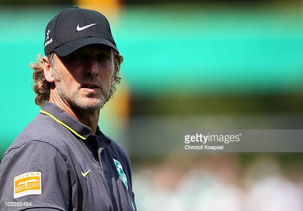 Assistant coach Matthias Hoenerbach of Bremen looks on before the DFB Cup first round match between Rot Weiss Ahlen and SV Werder Bremen at Werse...