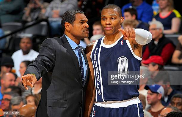 Assistant coach Maurice Cheeks talks with Russell Westbrook of the Oklahoma City Thunder during a time out against the Denver Nuggets at the Pepsi...